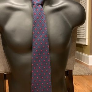 Pierre Cardin Blue With Red Dots 100% Silk Tie